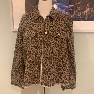 Kensie Leopard Jean Jacket with Raw Hem